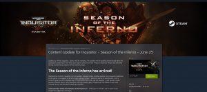 v2.3.0!シーズナルイベント実装してる!「W40K: Inquisitor – Martyr」Season of the Inferno